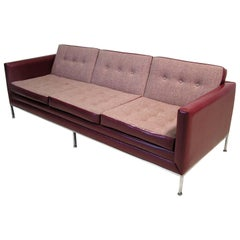 1960s Florence Knoll Three-Seat Sofa with Chromed Steel Frame