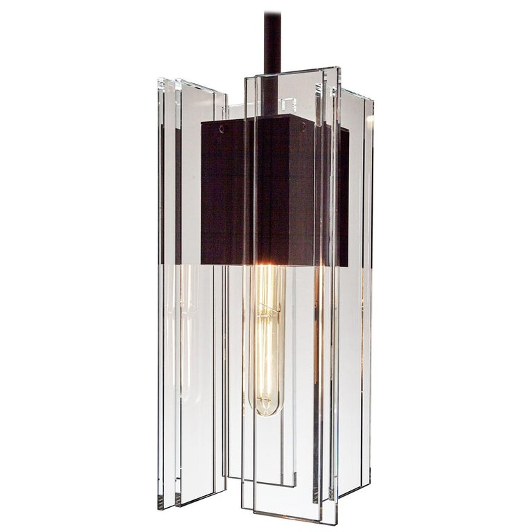 Clear Glass and Black Anodized Aluminum Contemporary Led Light Pendant For Sale