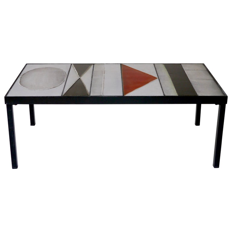 Roger Capron, Lava Glazed Low Table, France, circa 1965