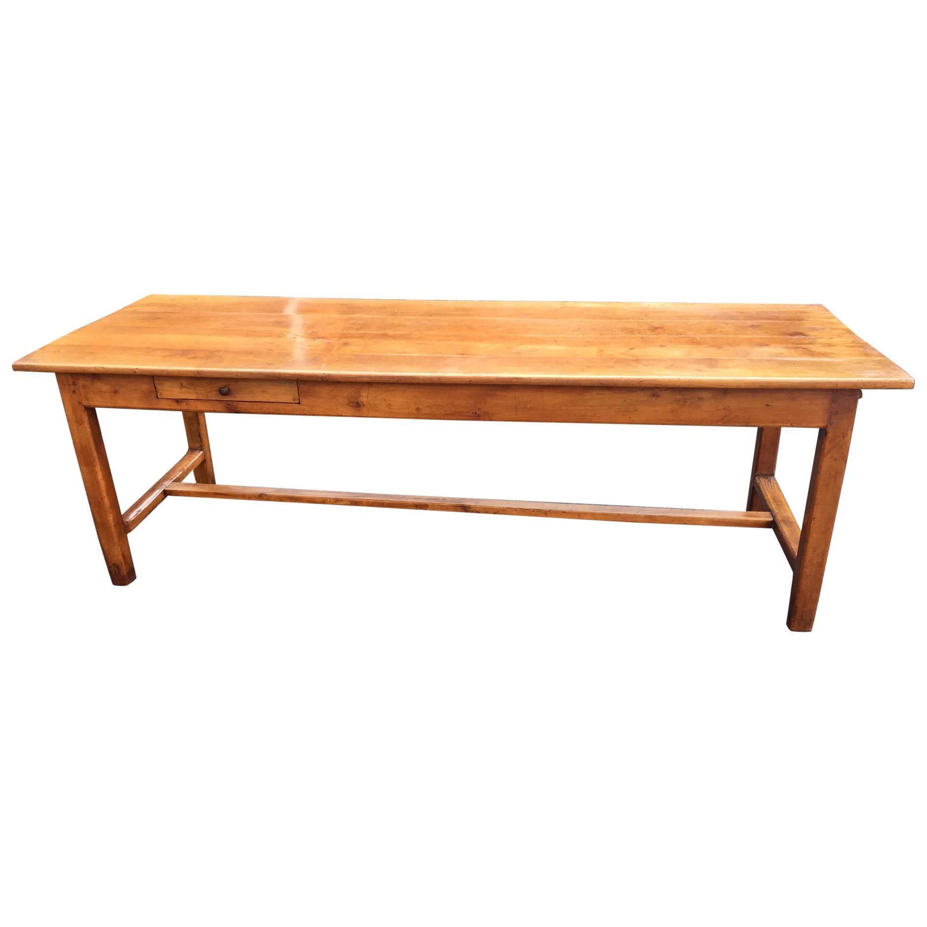 Beau Cherry Wood Farmhouse Table, French, Circa 1860