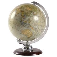 World Globe Glass Light West Germany 1950s JRO with Bakelite Base