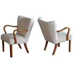 Pair of Fritz Hansen Attributed Danish Easy Chairs Covered in Lambswool 1950