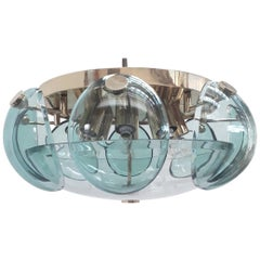 Exceptional Italian Flush Mount with Beveled Glass