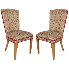 Pair of Midcentury High Back Dining or Occasional Chairs