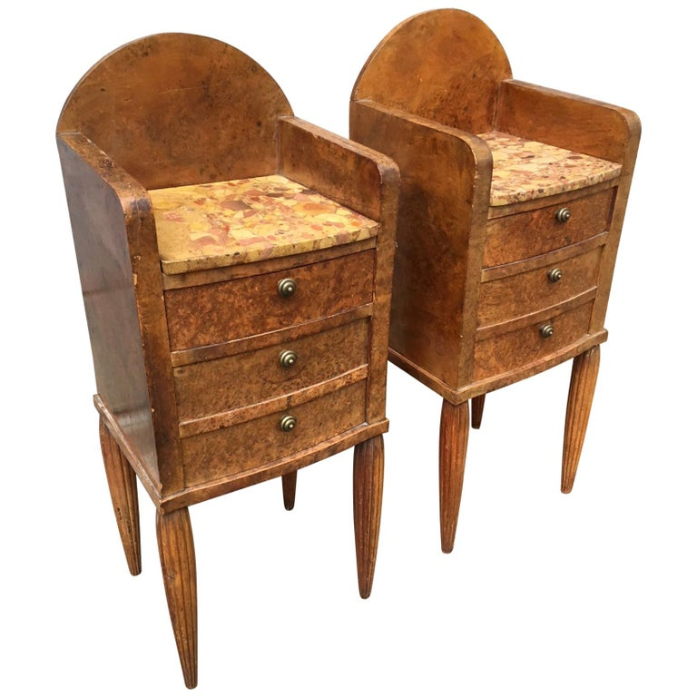 Pair of French Art Deco Burlwood and Marble Top Nightstand Tables