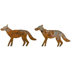 Vintage Heavy Sheet Iron Orange Coyote Dog Folk Art Targets