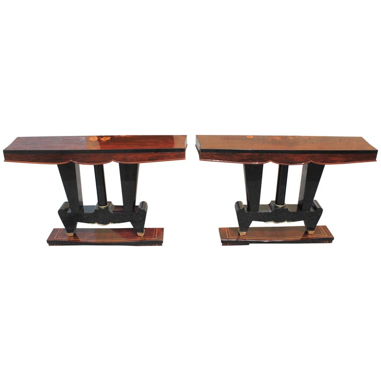 Classic Pair of French Art Deco Macassar Ebony Console Tables, circa 1940s