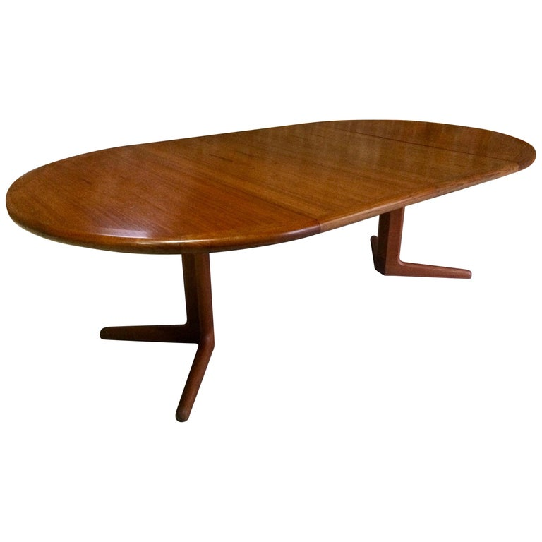 Midcentury Danish Teak Extending Dining Table Circular Oval, 1970s