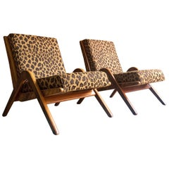 Midcentury Boomerang Chairs Pair by Neil Morris for Morris of Glasgow Walnut