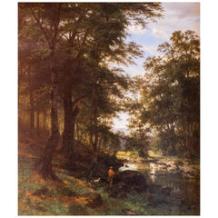 Friedrich Carl Werner Ebel, Idyllic Scene in a Beech Grove, 1868 Oil on Canvas