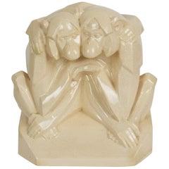 """Monkeys Couple Art Deco Ceramic """"Craquelé"""" by Gabriel Beauvais for Kaza"""