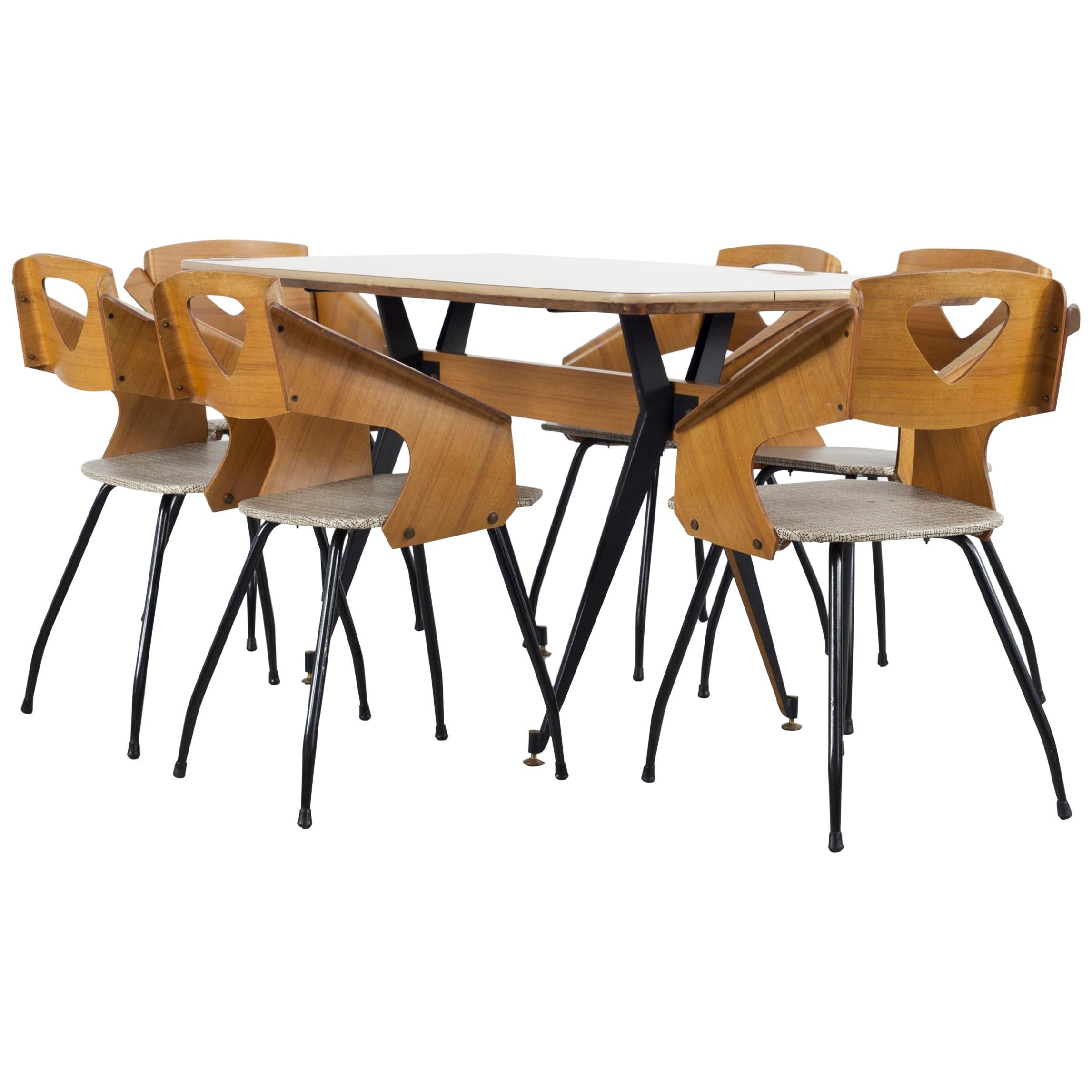 Set of 6 Dining Chairs and Table by Carlo Ratti, 1950s