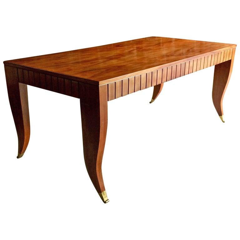 Midcentury Gio Ponti Dining Table Desk Mahogany Italian, circa 1940