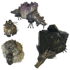 Set of Four Fantastic Animals Geode Sterling Massif 925, 1970