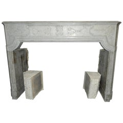 18th Century Louis XIV Fireplace in Grey Limestone
