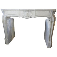 19th Century Louis XV Style Louis 15th Fireplace in Grey French Limestone