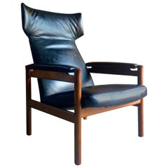 Midcentury Fritz Hansen Wing Chair Model 4365 by Soren Hansen Danish, 1960