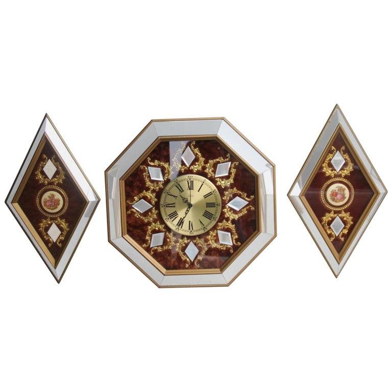 Wall Clock in Brass Velvet Hexagonal and Rhombus Mirrors Made in Italy, 1960s