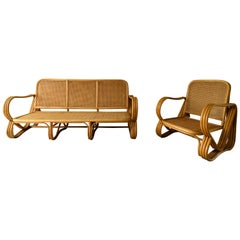 Pretzel Bamboo Sofa, Paul Frankl Style Ficks Reed