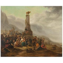 Scena Religiosa-Theodor Helmbreker 17th Century Oil on Canvas Religious Painting