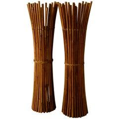Pair of Midcentury Bamboo Floor Lamp
