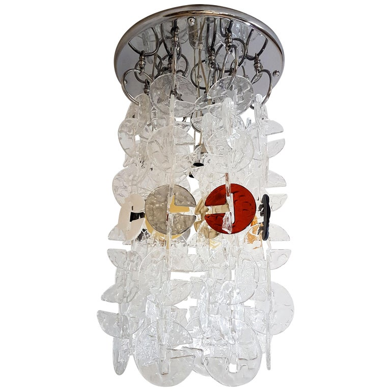 Large Mid-Century Modern Chrome and Murano Glass Chandelier by Mazzega, 1970s