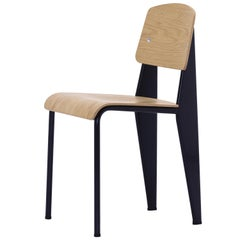 Vitra Standard Chair in Natural Oak and Black by Jean Prouvé