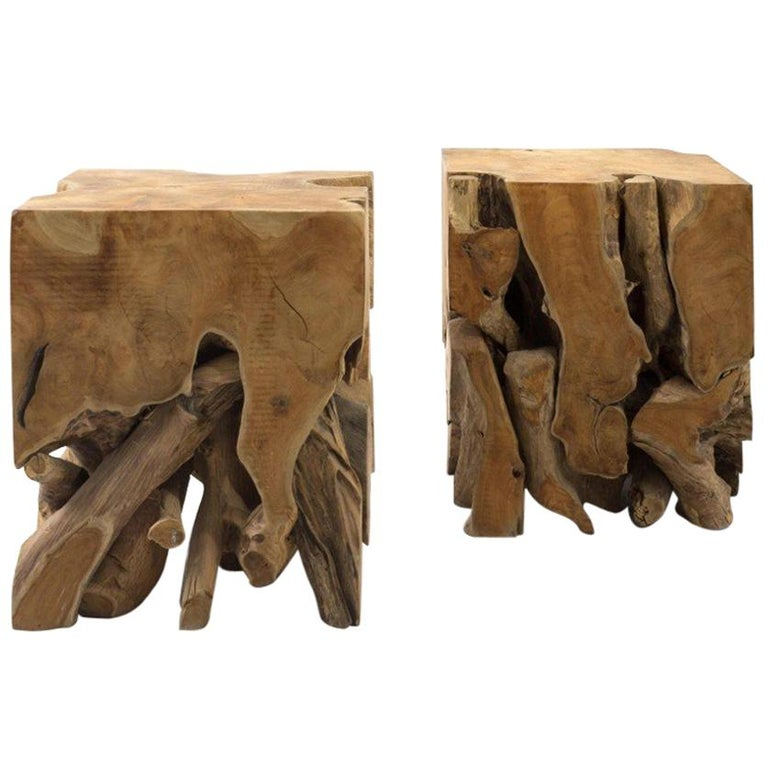 Pair of Teak Root Cube End Tables