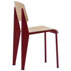 Vitra Standard Chair in Natural Oak and Japanese Red by Jean Prouvé