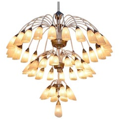 1 of 2 Huge Extra Large 1950s Italian Chandelier with 49 Tulip Glass Shades