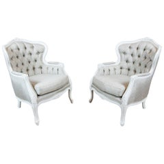 Two Bergères in the Shabby Chic Technique, circa 1950