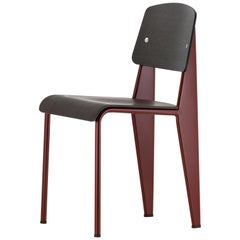 Vitra Standard Chair in Dark Oak & Japanese Red by Jean Prouvé