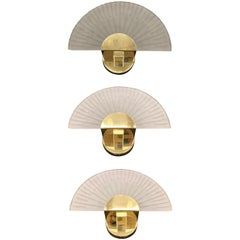 Three Art Deco Style Sconces Cut Glass and Brass Soelken Leuchten, German 1980s
