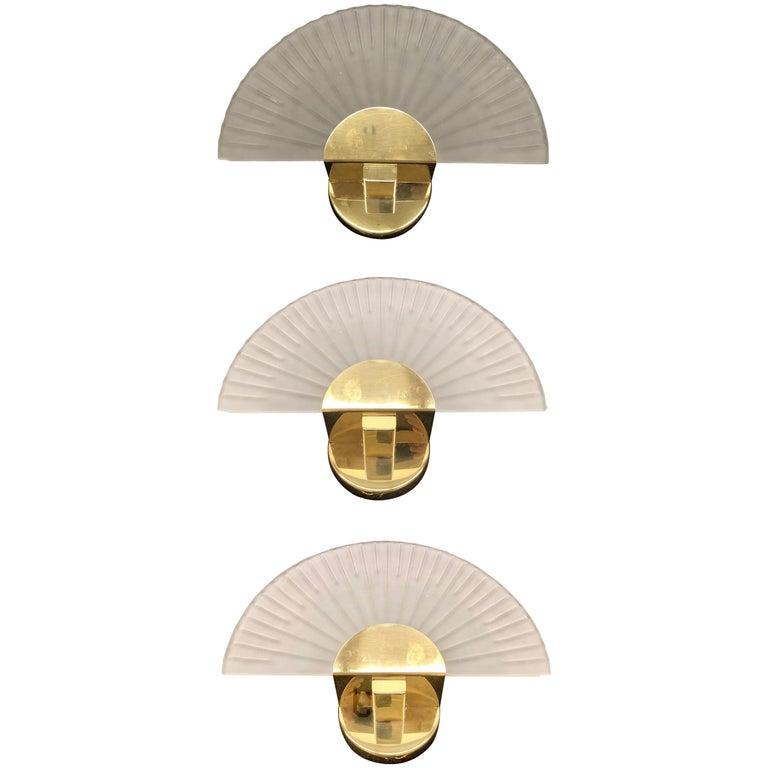 Three Art Deco Style Sconces Cut Glass and Brass Soelken Leuchten, German 1980s