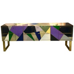 Italian Multicolored Opaline Glass Credenza with Brass Inlays, 1980s