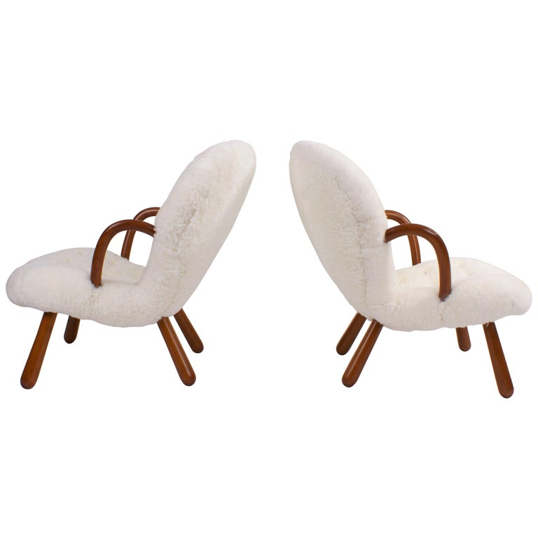 Philip Arctander Pair of 'Clam' Easy Chairs in Sheepskin, 1944