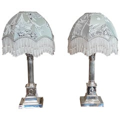 Matched Pair of Early 20th Century Silver Plated Table Lamps