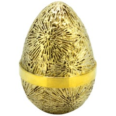 Vintage Sterling Silver Gilded Surprise Egg
