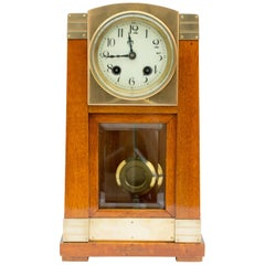 Art Nouveau Mahogany Table Clock, Gustave Serrurier-Bovy, Pfeilkreuz