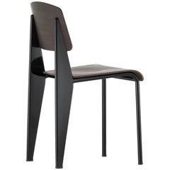 Vitra Standard Chair in Dark Oak and Black by Jean Prouvé