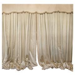 Very Large Pair of Vintage French Beige Satin Drapes with Valance