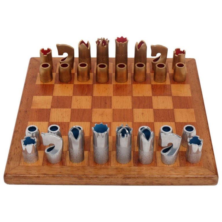 1960s Bespoke Brutalist Gold Anodised Aluminum and Walnut Chess Set