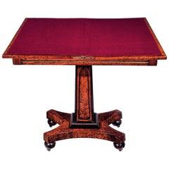 Regency Amboyna Gothic Card Table