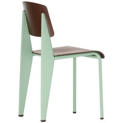 Vitra Standard SP Chair in Teak Brown and Mint by Jean Prouvé