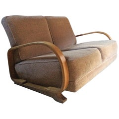 Gilbert Rohde for Heywood Wakefield Sofa Settee Two-Seat Art Deco Streamline