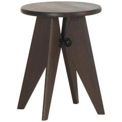 Vitra Tabouret Solvay Stool in Smoked Oak by Jean Prouvé