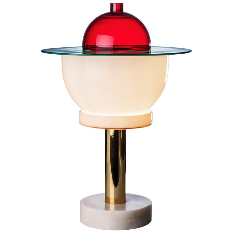 Venini Nopuram Table Lamp in Red by Ettore Sottsass For Sale