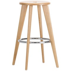 Vitra Tabouret Haut Bar Stool in Natural Oak by Jean Prouvé