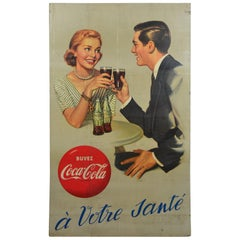 1955 European Coca Cola Store Display Sign
