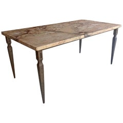 French Marble Coffee Table Iron Base circa 1940s Vintage